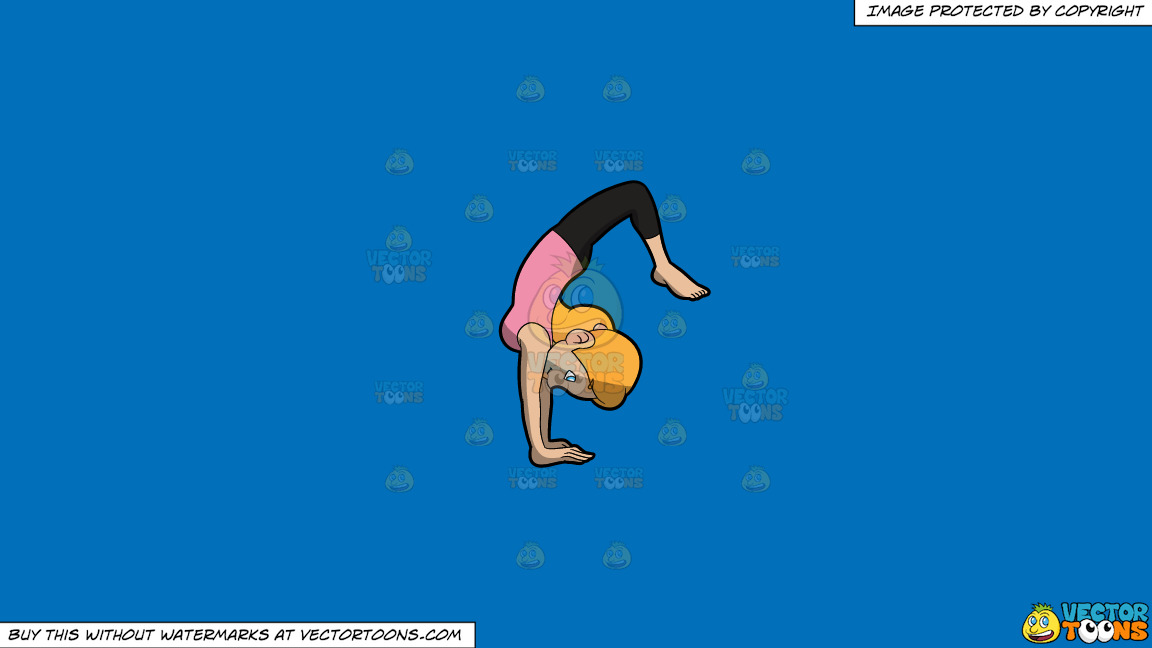 A Woman Going Into The Upward Wheel Yoga Pose On A Solid Spanish Blue 016fb9 Background thumbnail