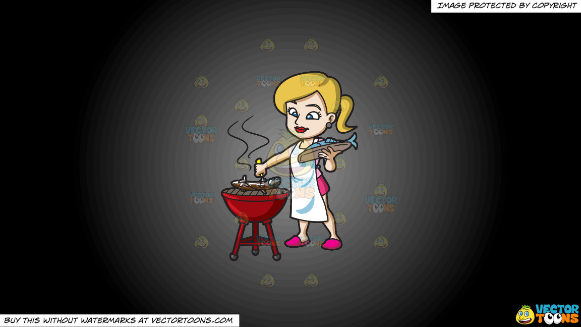 A Woman Grilling A Couple Of Fish On A Grey And Black Gradient Background thumbnail