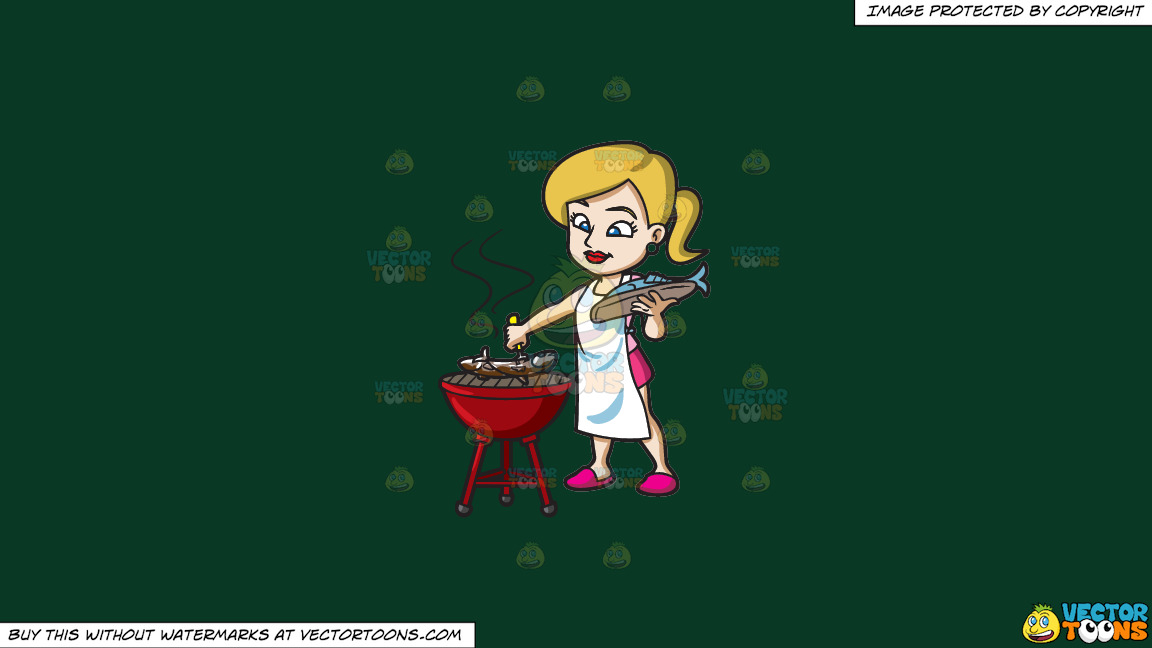 A Woman Grilling A Couple Of Fish On A Solid Dark Green 093824 Background thumbnail