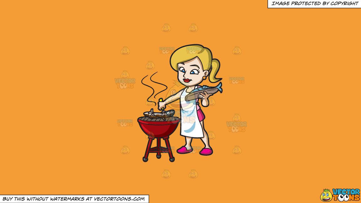 A Woman Grilling A Couple Of Fish On A Solid Deep Saffron Gold F49d37 Background thumbnail