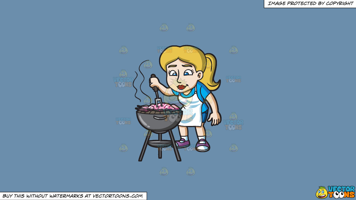 A Woman Grilling A Squid On A Solid Shadow Blue 6c8ead Background thumbnail