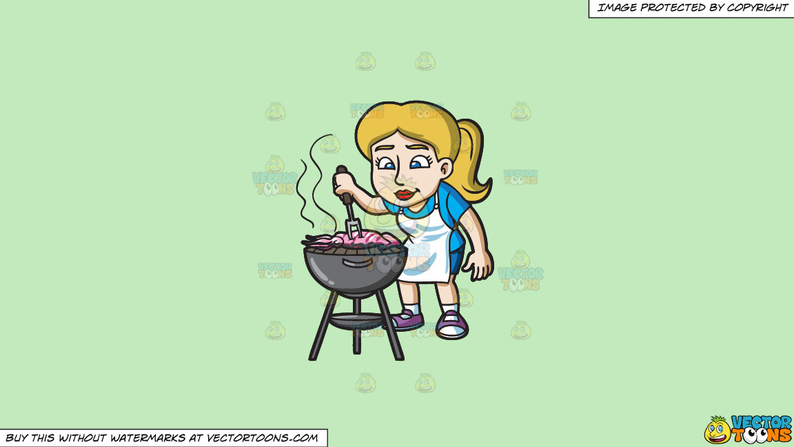 A Woman Grilling A Squid On A Solid Tea Green C2eabd Background thumbnail