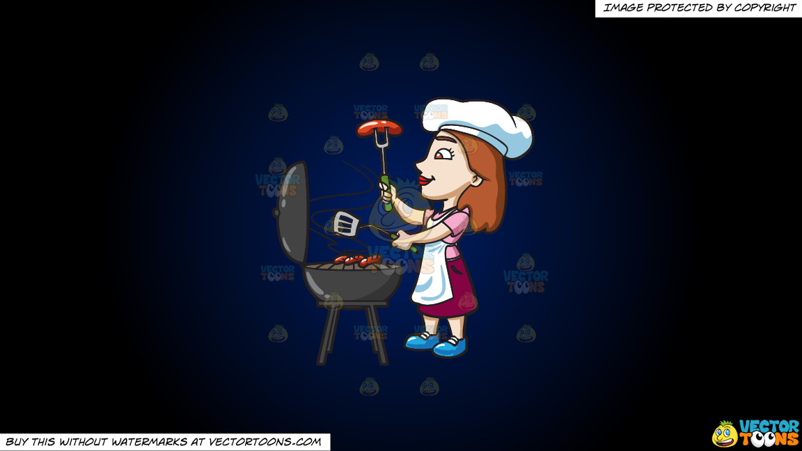 A Woman Grilling Hotdogs On A Dark Blue And Black Gradient Background thumbnail