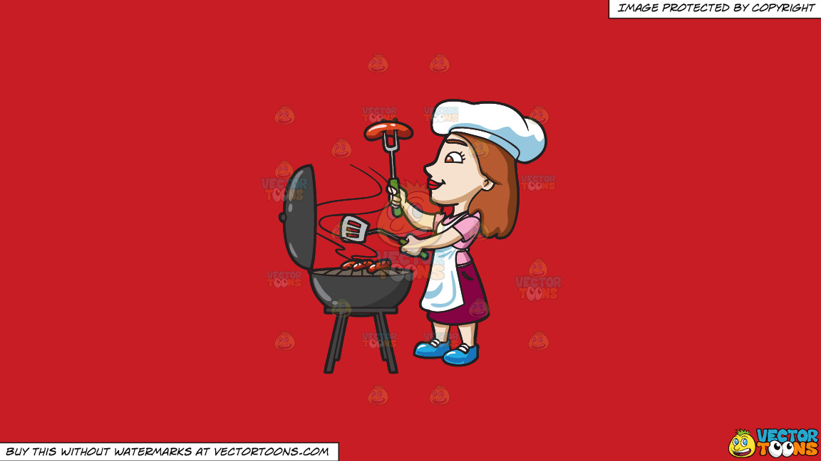 A Woman Grilling Hotdogs On A Solid Fire Engine Red C81d25 Background thumbnail