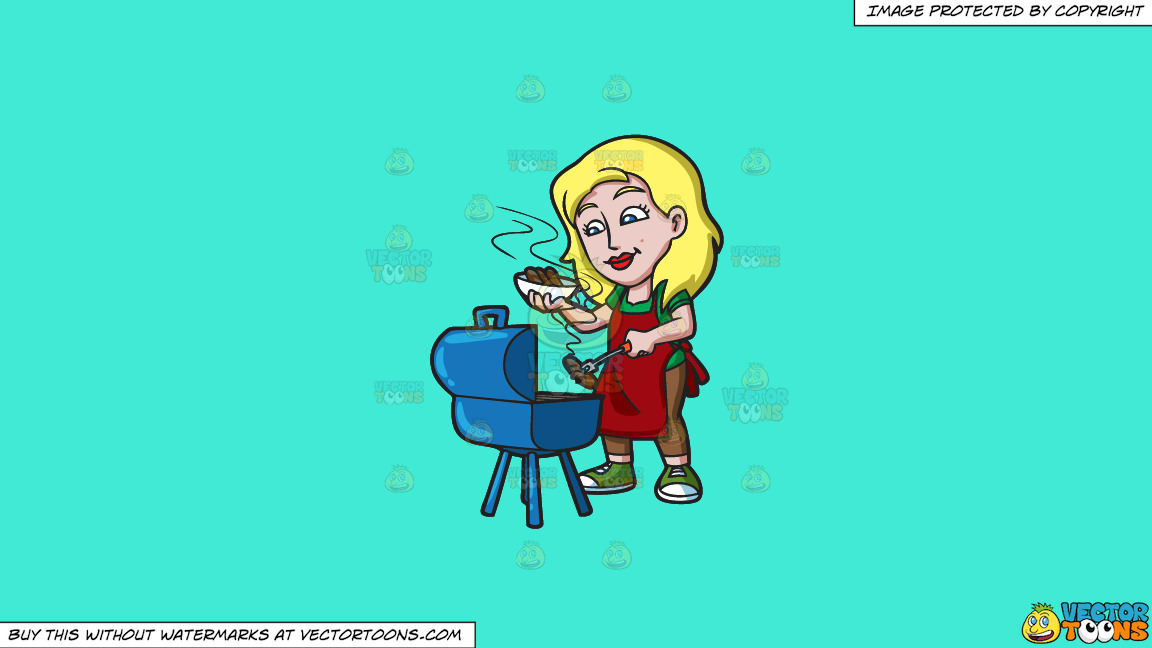 A Woman Grilling Sausages On A Solid Turquiose 41ead4 Background thumbnail