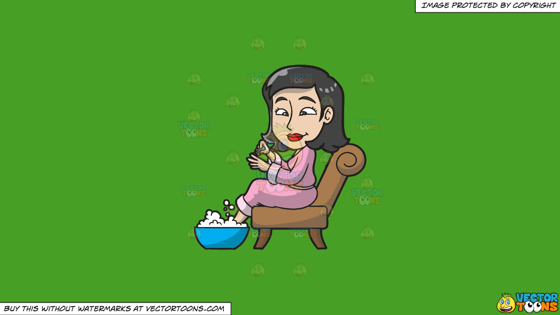 A Woman Having A Foot Spa And Manicure On A Solid Kelly Green 47a025 Background thumbnail