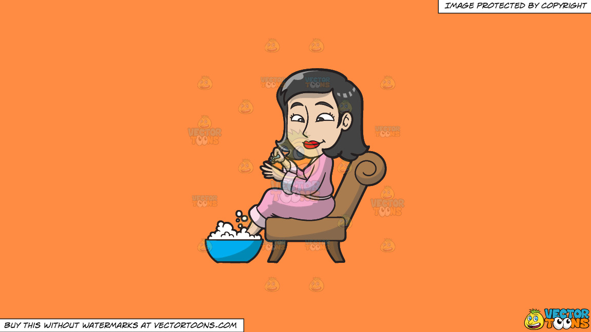 A Woman Having A Foot Spa And Manicure On A Solid Mango Orange Ff8c42 Background thumbnail