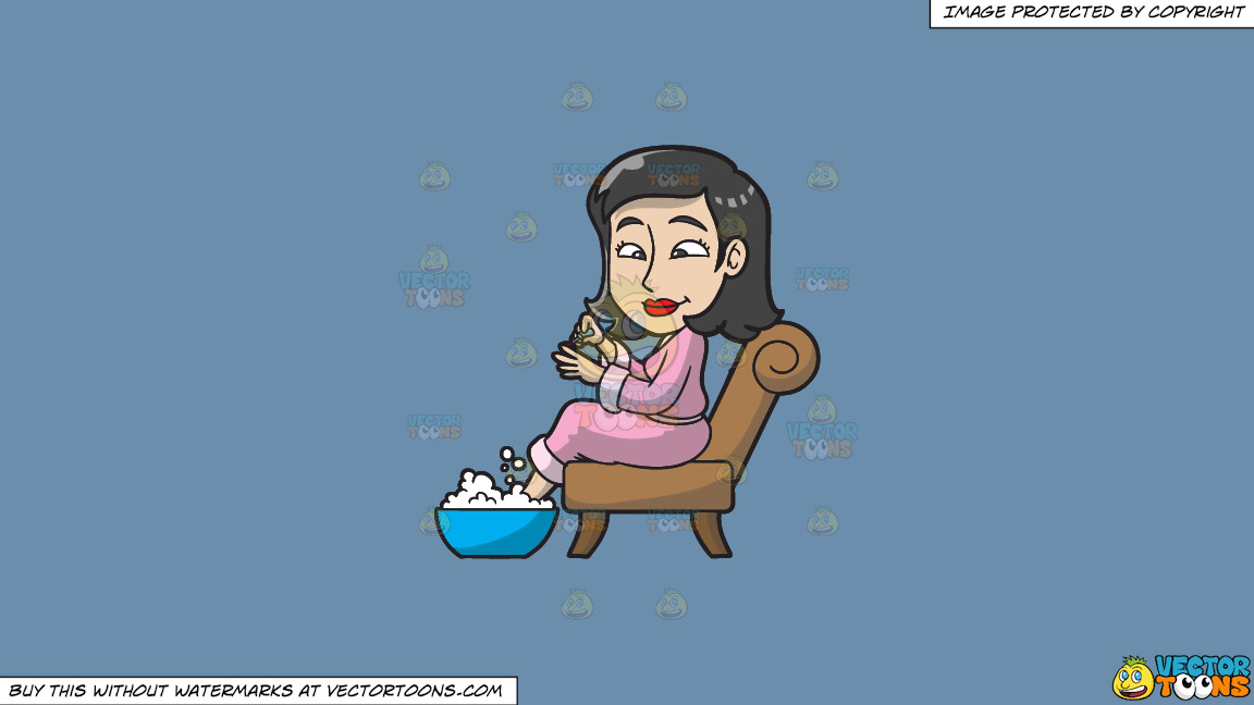 A Woman Having A Foot Spa And Manicure On A Solid Shadow Blue 6c8ead Background thumbnail