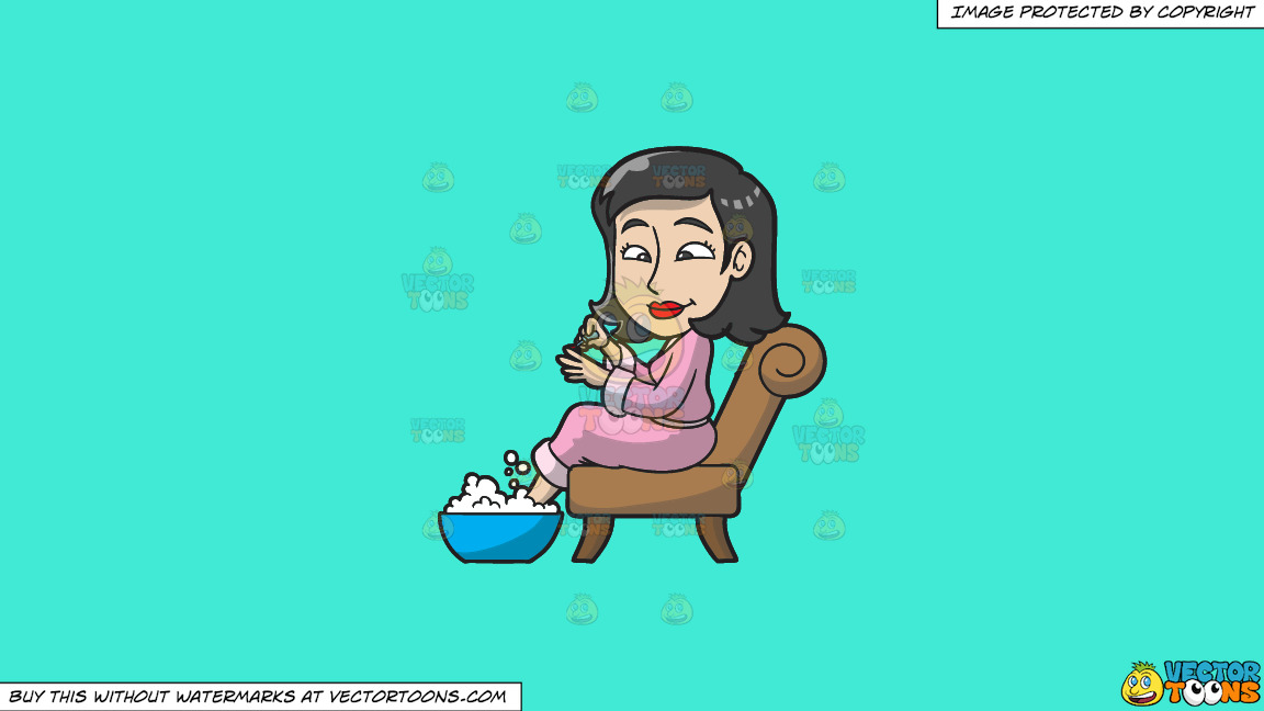 A Woman Having A Foot Spa And Manicure On A Solid Turquiose 41ead4 Background thumbnail