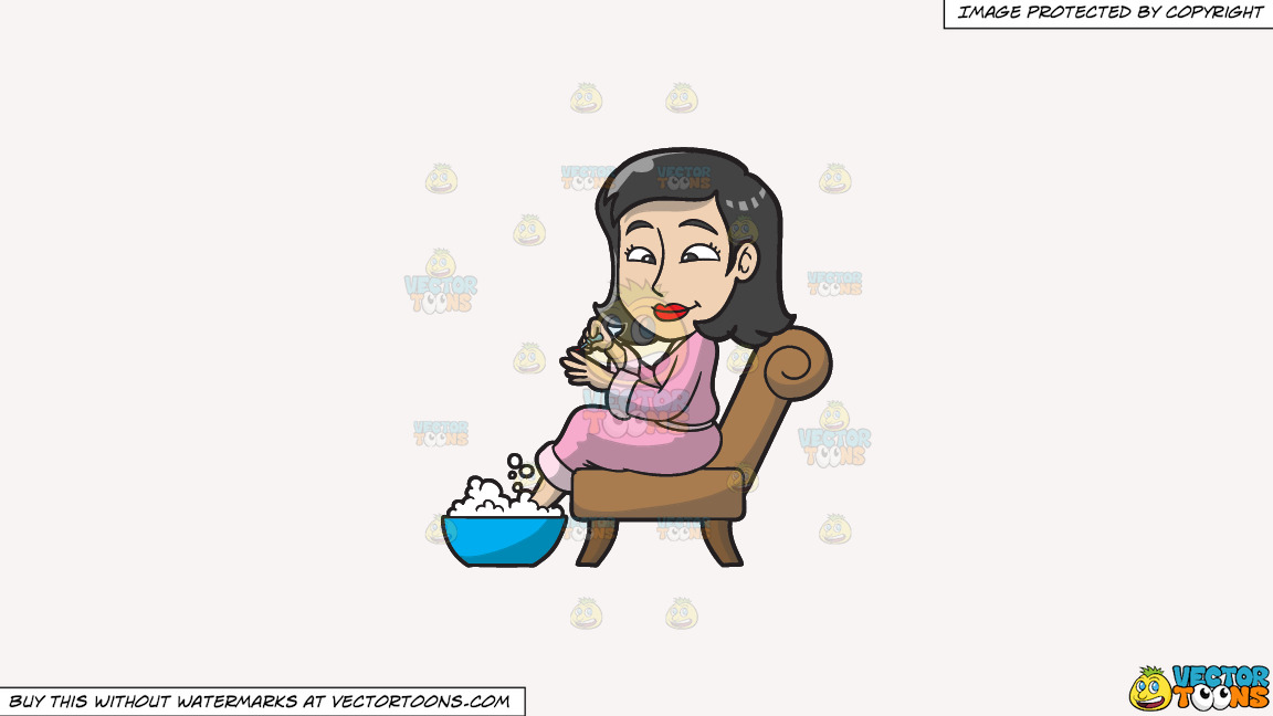 A Woman Having A Foot Spa And Manicure On A Solid White Smoke F7f4f3 Background thumbnail