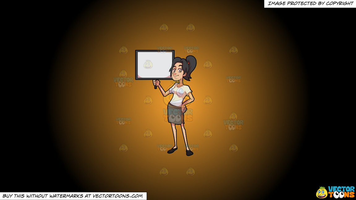 A Woman Holding A Blank Signboard On A Orange And Black Gradient Background thumbnail