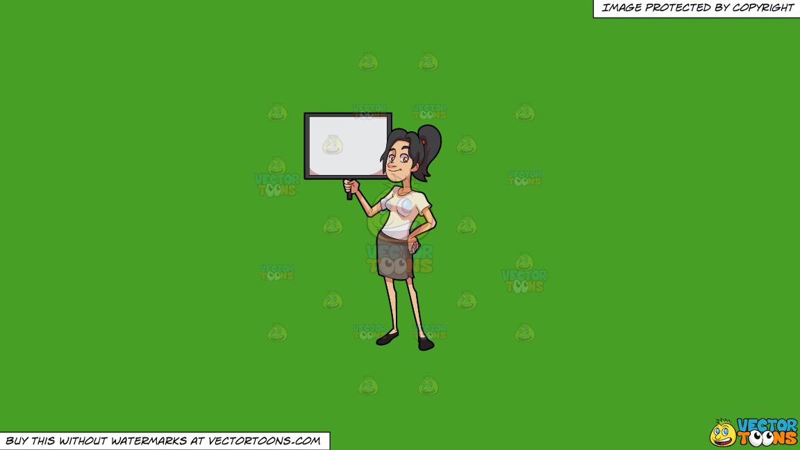 A Woman Holding A Blank Signboard On A Solid Kelly Green 47a025 Background thumbnail