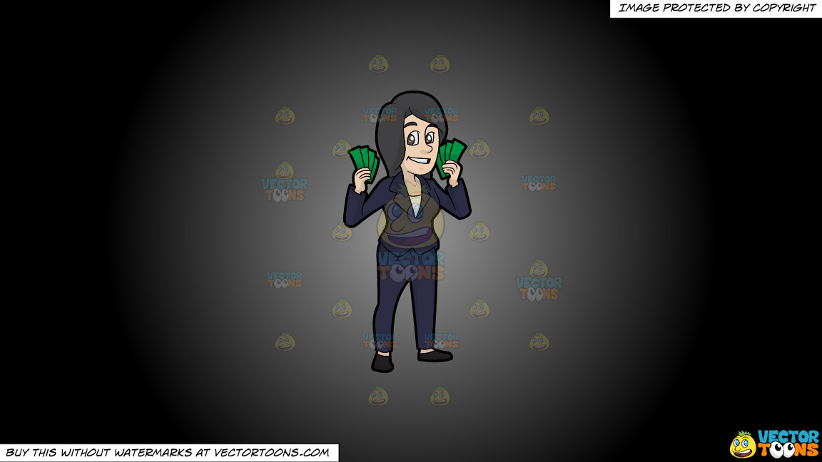 A Woman Holding A Bunch Of Cash In Her Hands On A Grey And Black Gradient Background thumbnail
