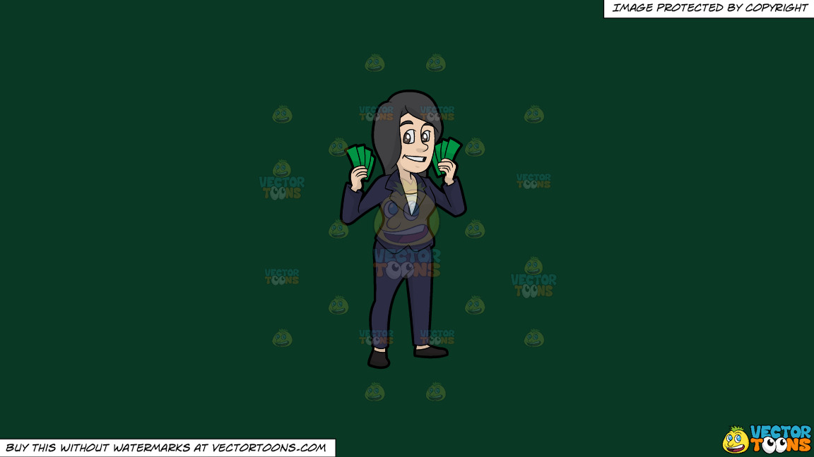 A Woman Holding A Bunch Of Cash In Her Hands On A Solid Dark Green 093824 Background thumbnail