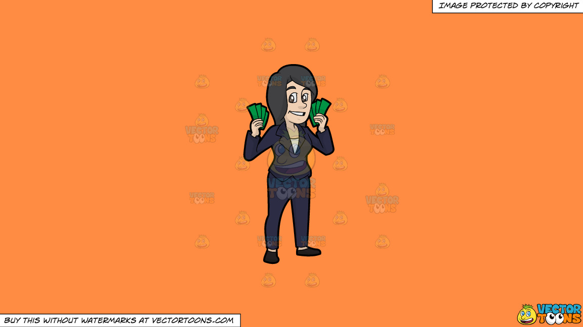 A Woman Holding A Bunch Of Cash In Her Hands On A Solid Mango Orange Ff8c42 Background thumbnail