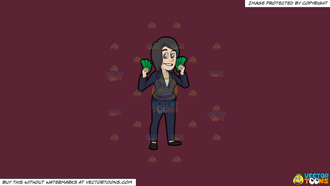A Woman Holding A Bunch Of Cash In Her Hands On A Solid Red Wine 5b2333 Background thumbnail