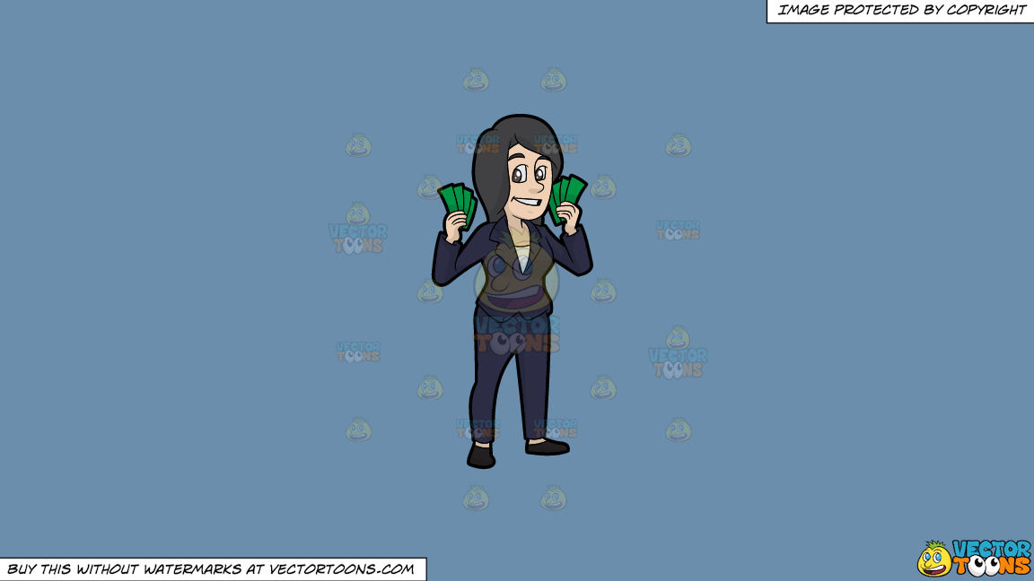 A Woman Holding A Bunch Of Cash In Her Hands On A Solid Shadow Blue 6c8ead Background thumbnail
