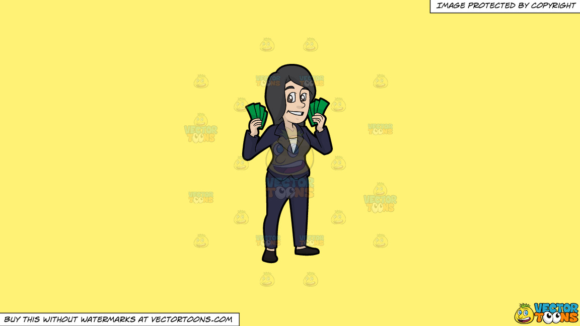 A Woman Holding A Bunch Of Cash In Her Hands On A Solid Sunny Yellow Fff275 Background thumbnail