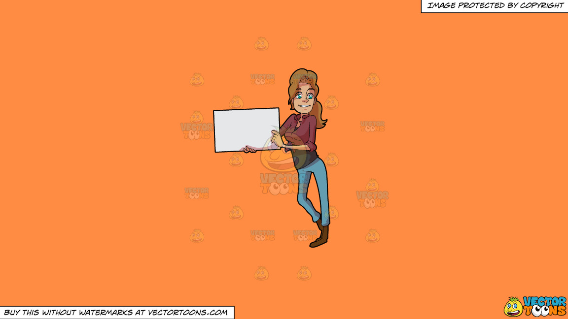 A Woman Holding A Signboard For Cue On A Solid Mango Orange Ff8c42 Background thumbnail