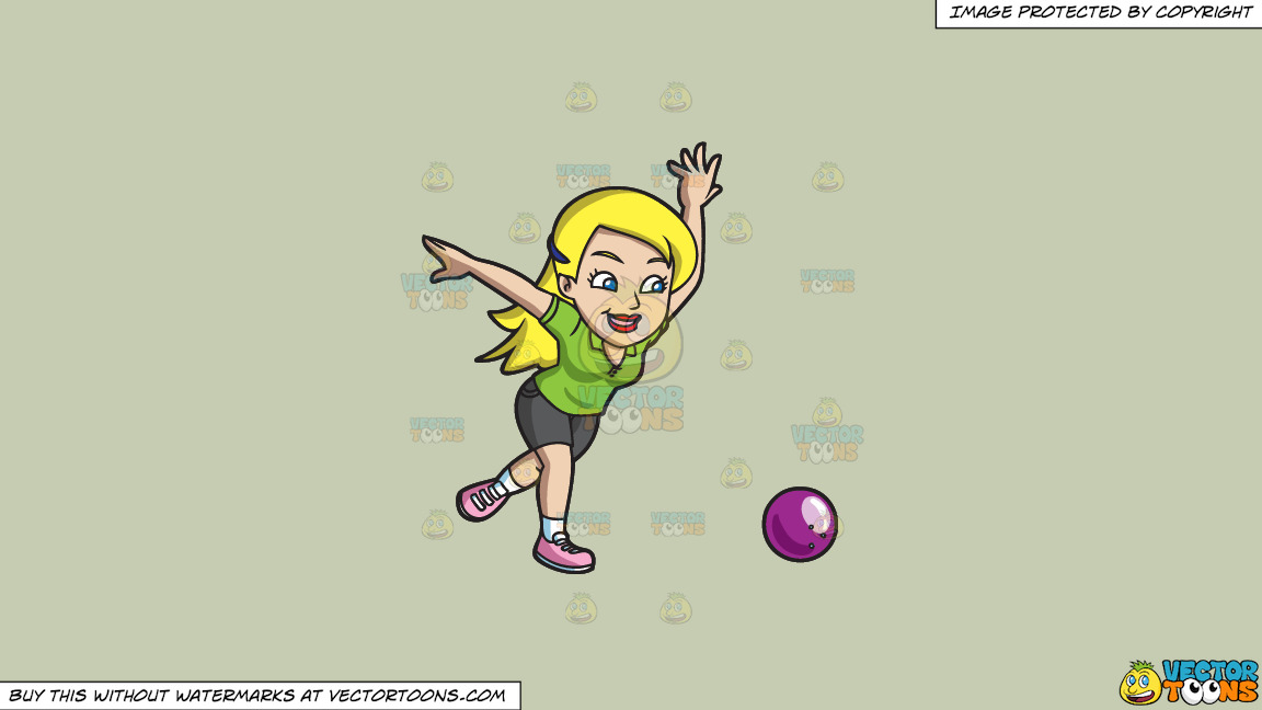 A Woman Hoping To Strike All Pins With A Bowling Ball On A Solid Pale Silver C6ccb2 Background thumbnail