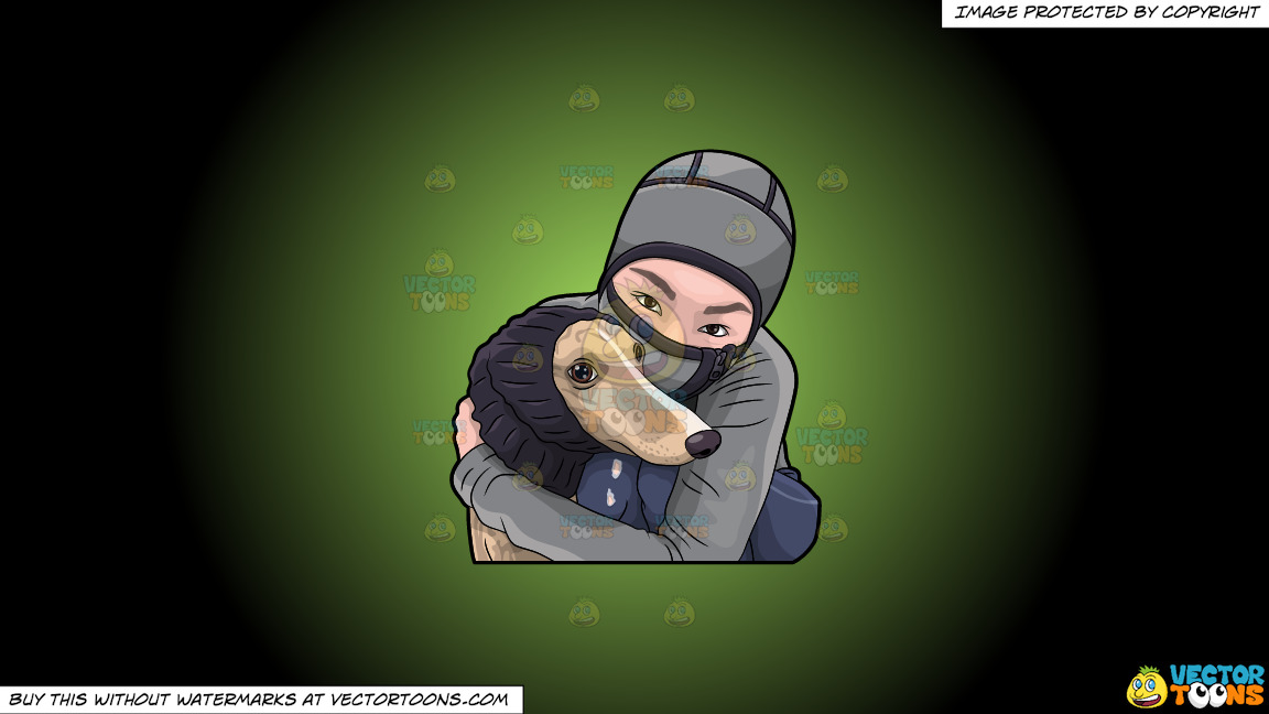 A Woman Hugging Her Dog During A Cold Day On A Green And Black Gradient Background thumbnail