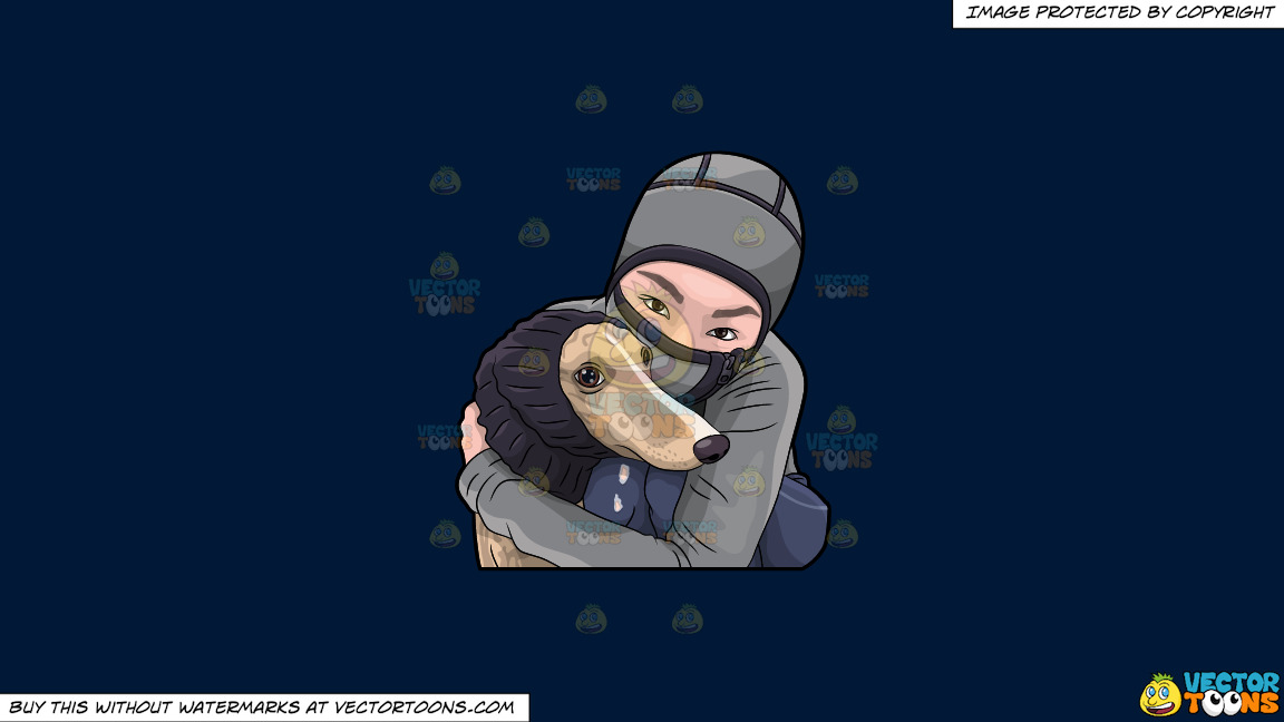 A Woman Hugging Her Dog During A Cold Day On A Solid Dark Blue 011936 Background thumbnail