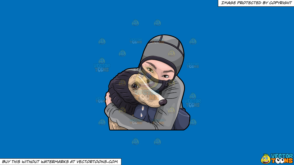 A Woman Hugging Her Dog During A Cold Day On A Solid Spanish Blue 016fb9 Background thumbnail
