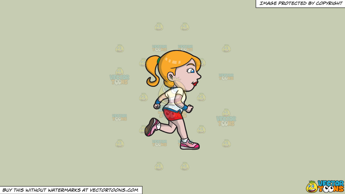 A Woman Jogging To Stay Healthy And Fit On A Solid Pale Silver C6ccb2 Background thumbnail