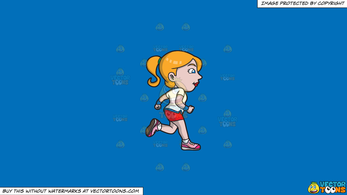 A Woman Jogging To Stay Healthy And Fit On A Solid Spanish Blue 016fb9 Background thumbnail