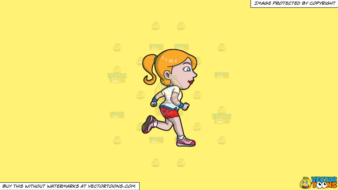 A Woman Jogging To Stay Healthy And Fit On A Solid Sunny Yellow Fff275 Background thumbnail