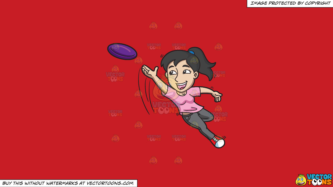 A Woman Jumps To Catch A Flying Disc On A Solid Fire Engine Red C81d25 Background thumbnail