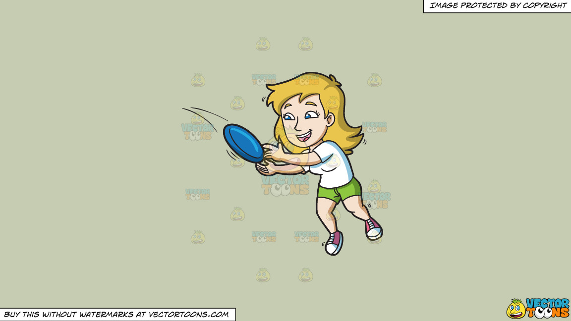 A Woman Jumps To Catch A Frisbee On A Solid Pale Silver C6ccb2 Background thumbnail