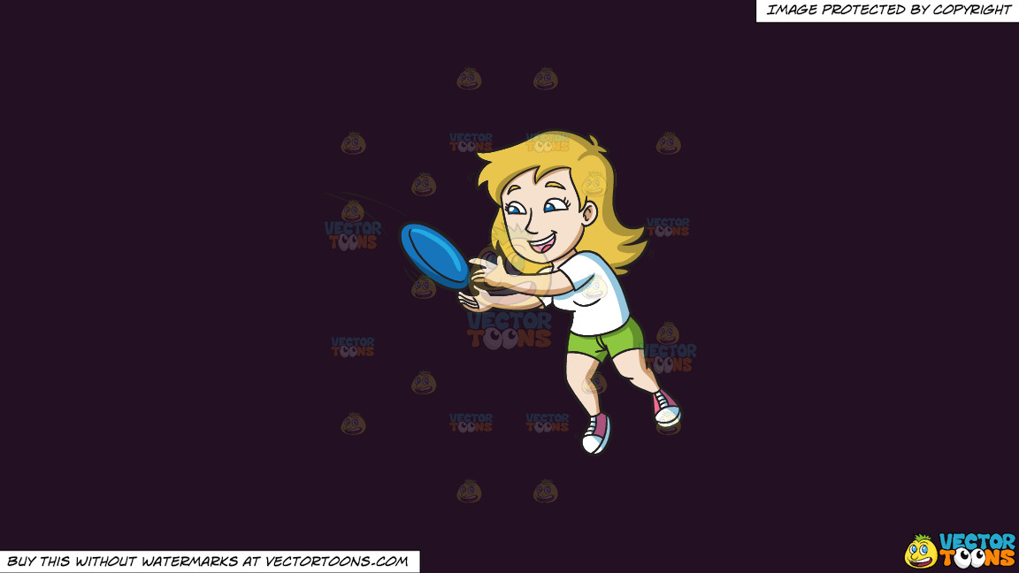 A Woman Jumps To Catch A Frisbee On A Solid Purple Rasin 241023 Background thumbnail