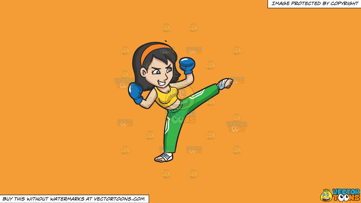 A Woman Kicking Up Her Left Leg So High On A Solid Deep Saffron Gold F49d37 Background thumbnail