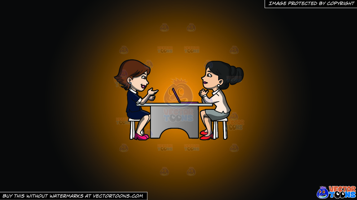 A Woman Listening To A Female Applicant On A Orange And Black Gradient Background thumbnail