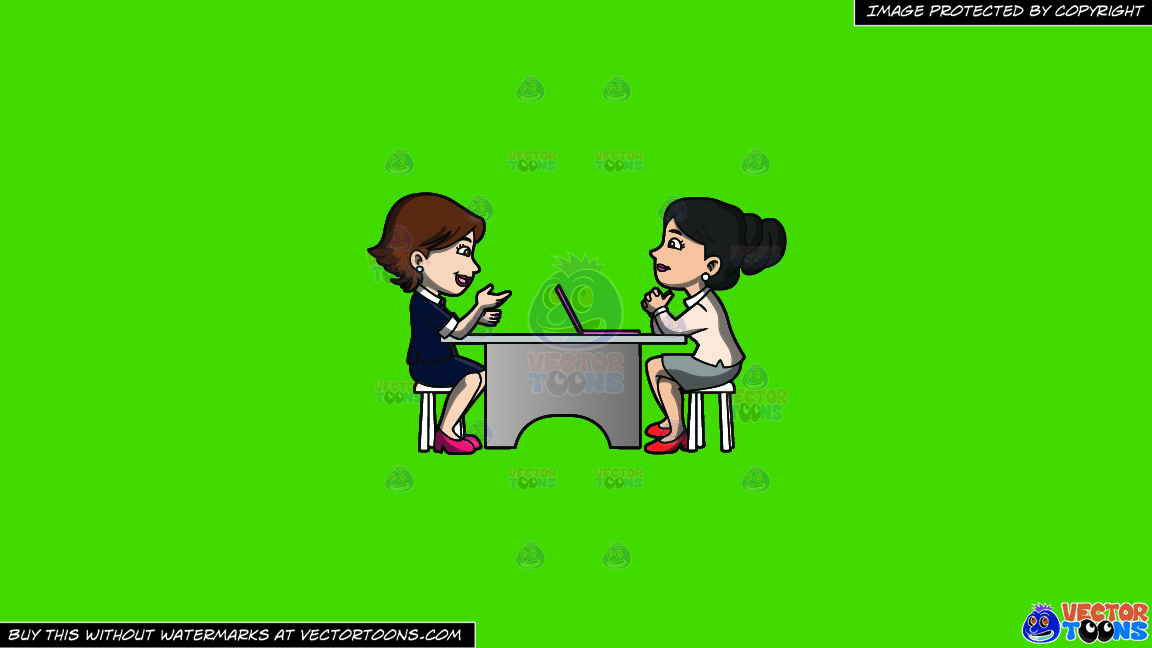 A Woman Listening To A Female Applicant On A Solid Kelly Green 47a025 Background thumbnail