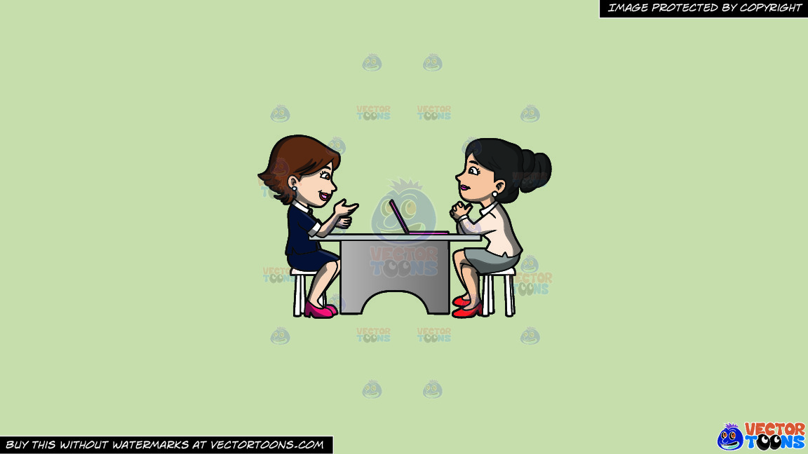 A Woman Listening To A Female Applicant On A Solid Pale Silver C6ccb2 Background thumbnail