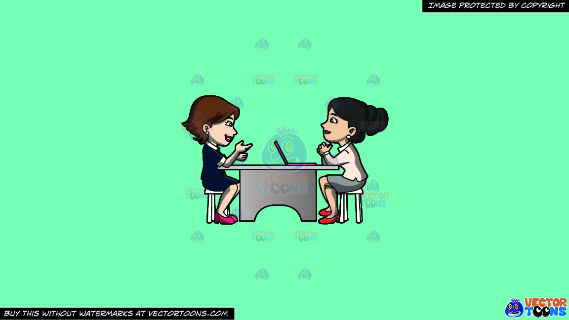 A Woman Listening To A Female Applicant On A Solid Turquiose 41ead4 Background thumbnail