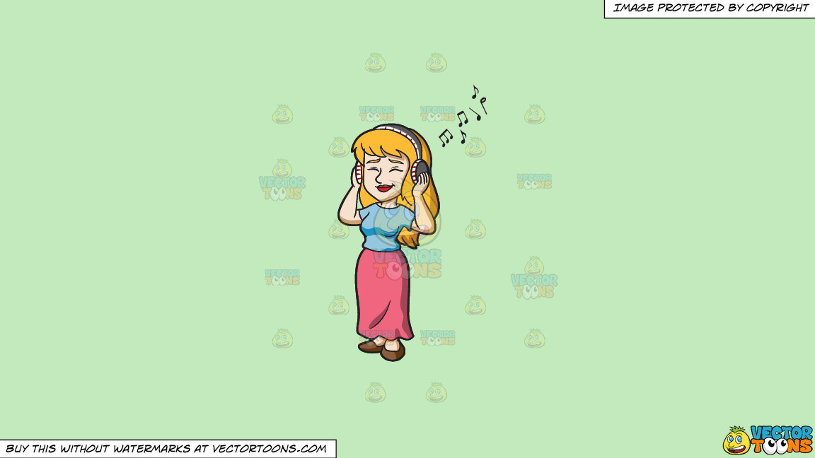 A Woman Listening With Pleasure To Her Playlist On A Solid Tea Green C2eabd Background thumbnail
