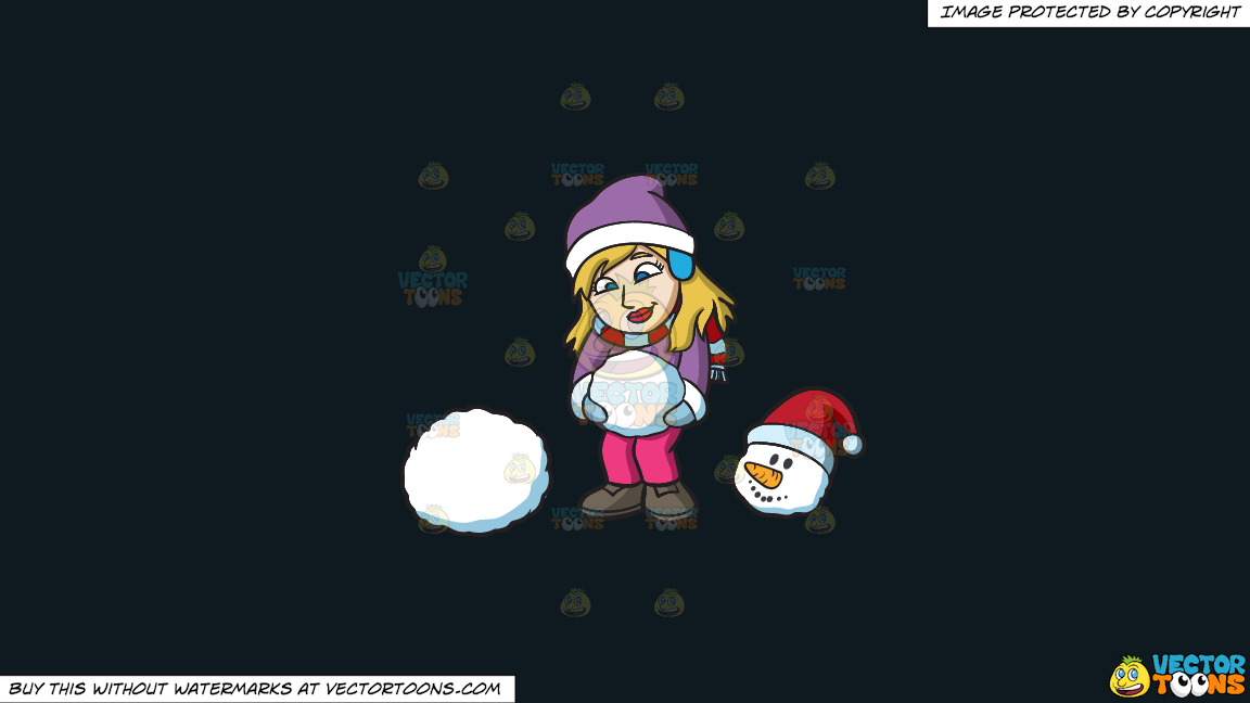 A Woman Making Balls Of Snow To Build A Snowman On A Solid Off Black 0f1a20 Background thumbnail