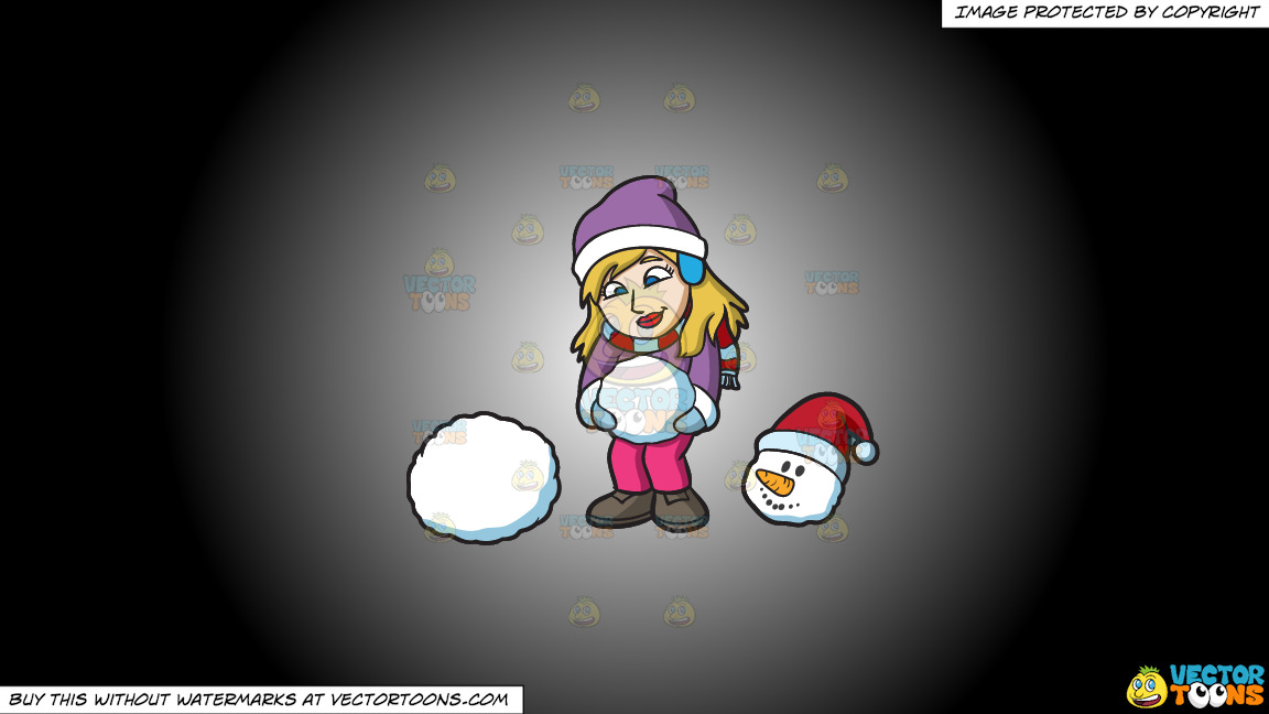 A Woman Making Balls Of Snow To Build A Snowman On A White And Black Gradient Background thumbnail