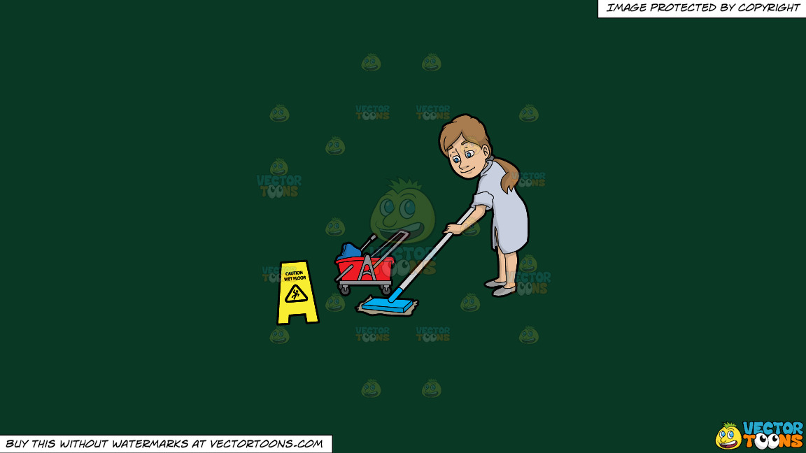 A Woman Mopping A Wet Floor On A Solid Dark Green 093824 Background thumbnail