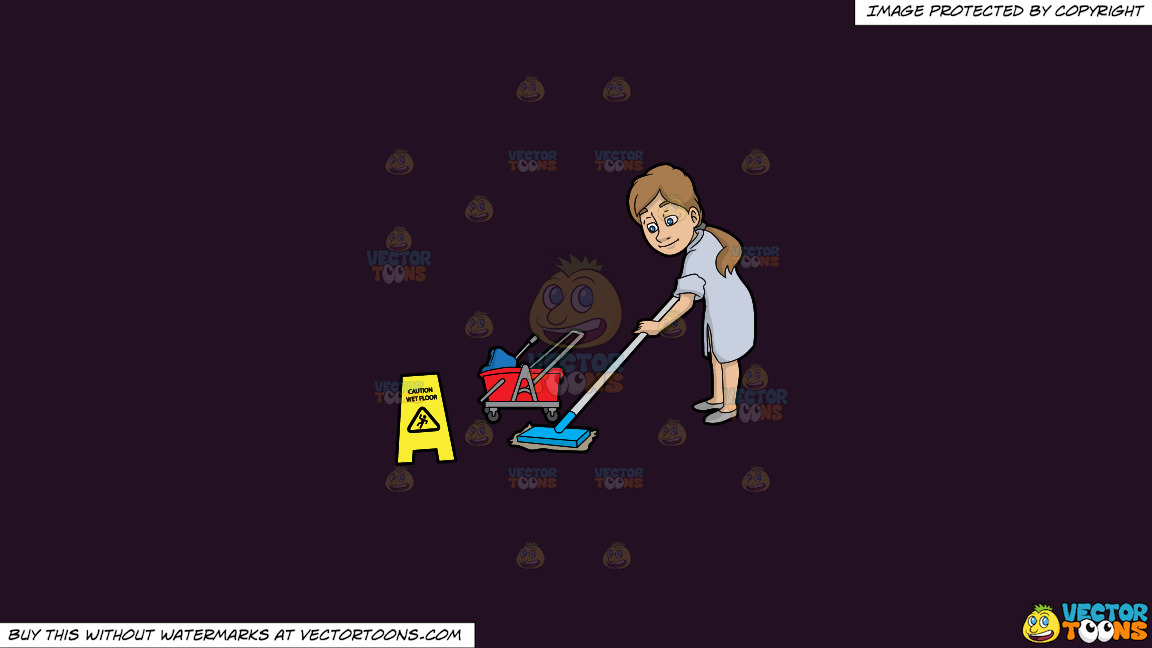 A Woman Mopping A Wet Floor On A Solid Purple Rasin 241023 Background thumbnail