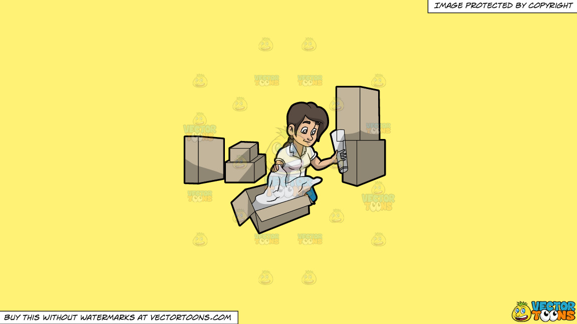 A Woman Packing A Fragile Vase On A Solid Sunny Yellow Fff275 Background thumbnail