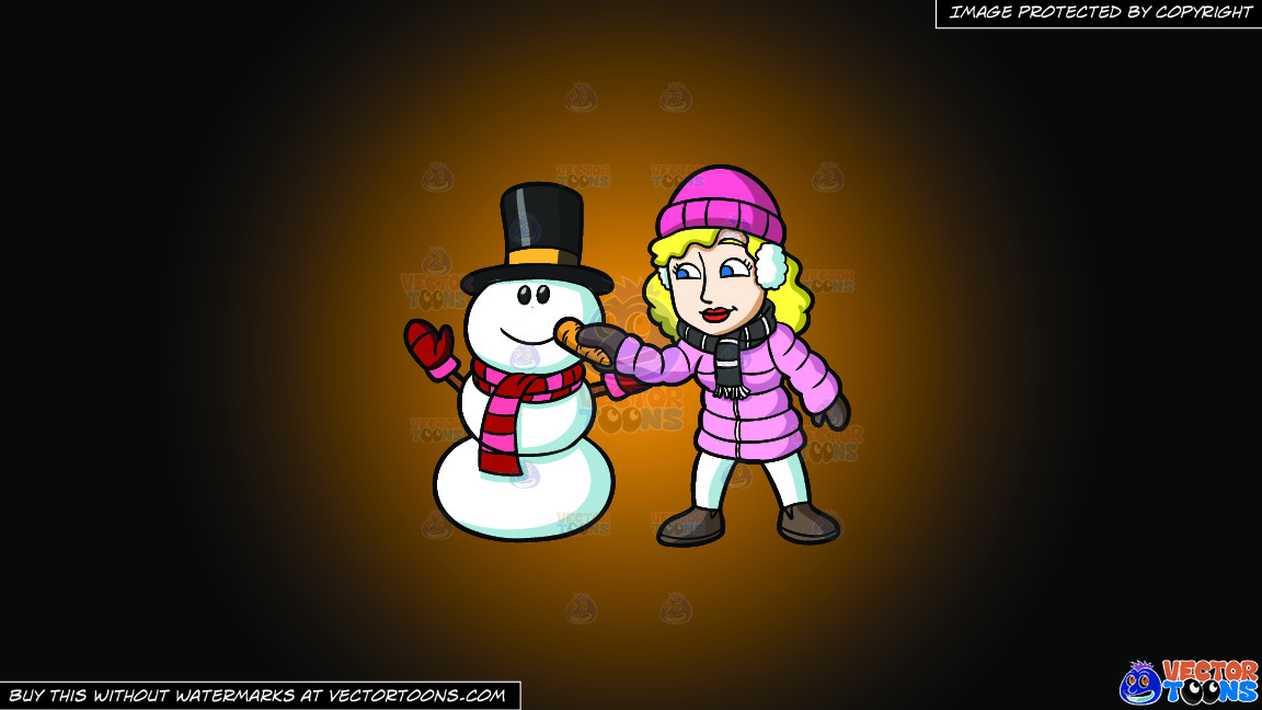 A Woman Placing A Carrot Nose On The Snowman On A Orange And Black Gradient Background thumbnail