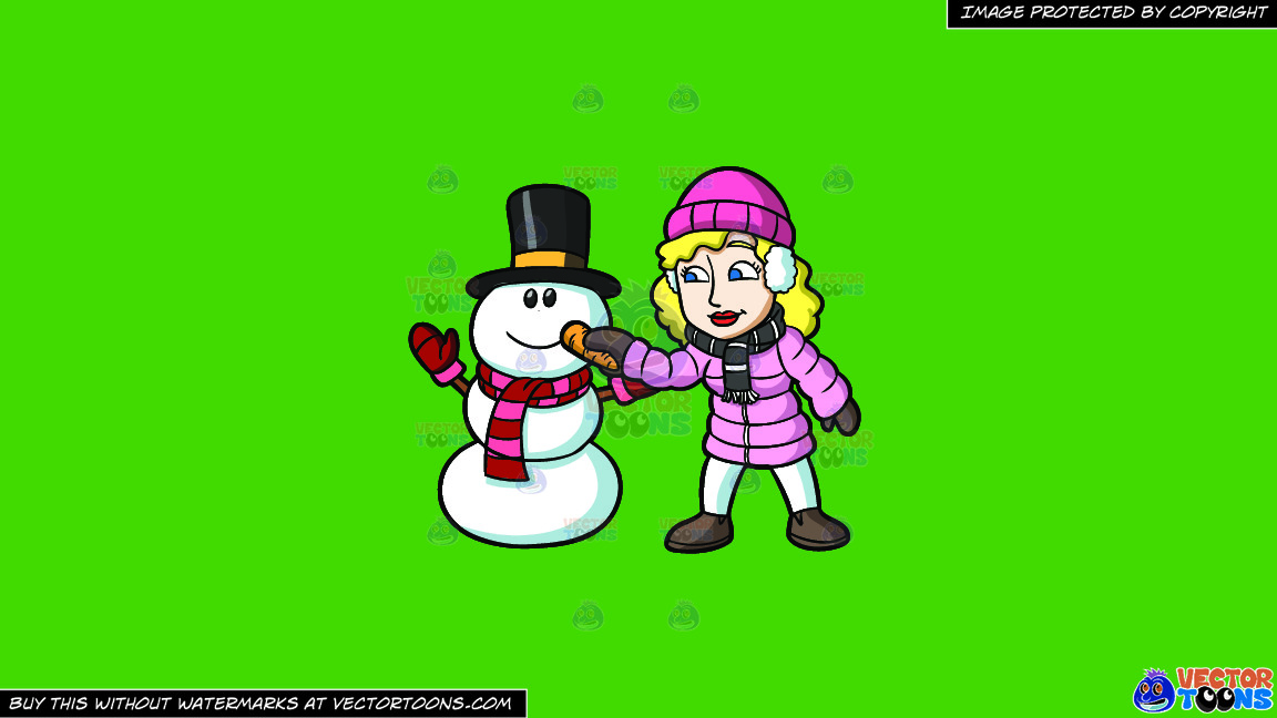A Woman Placing A Carrot Nose On The Snowman On A Solid Kelly Green 47a025 Background thumbnail