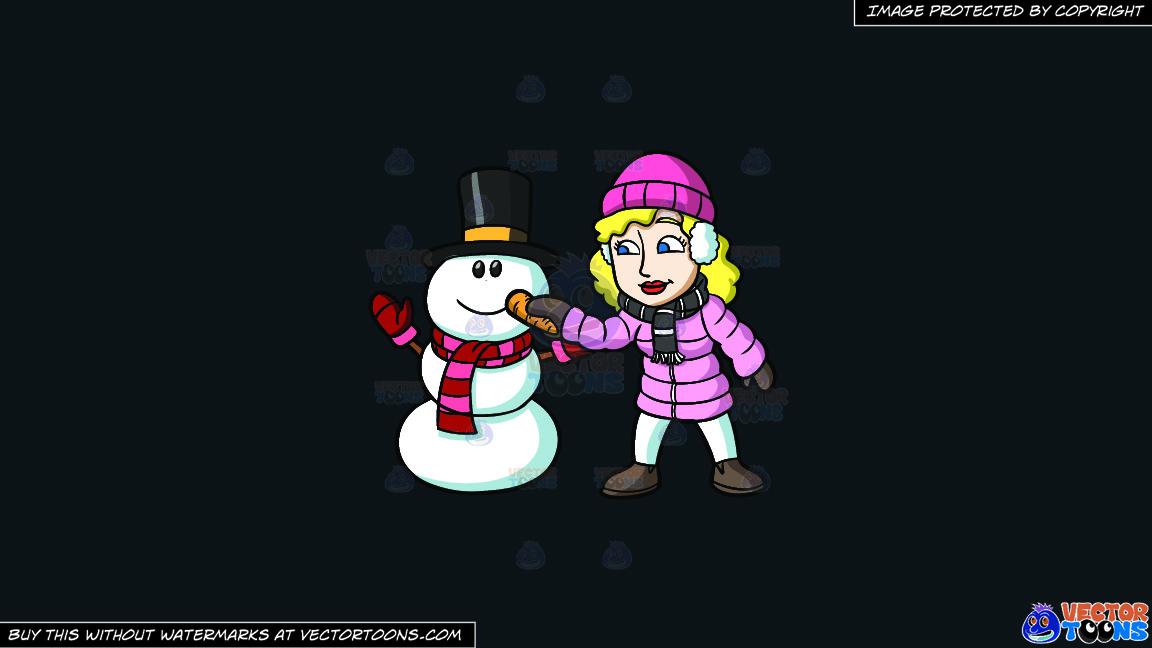 A Woman Placing A Carrot Nose On The Snowman On A Solid Off Black 0f1a20 Background thumbnail