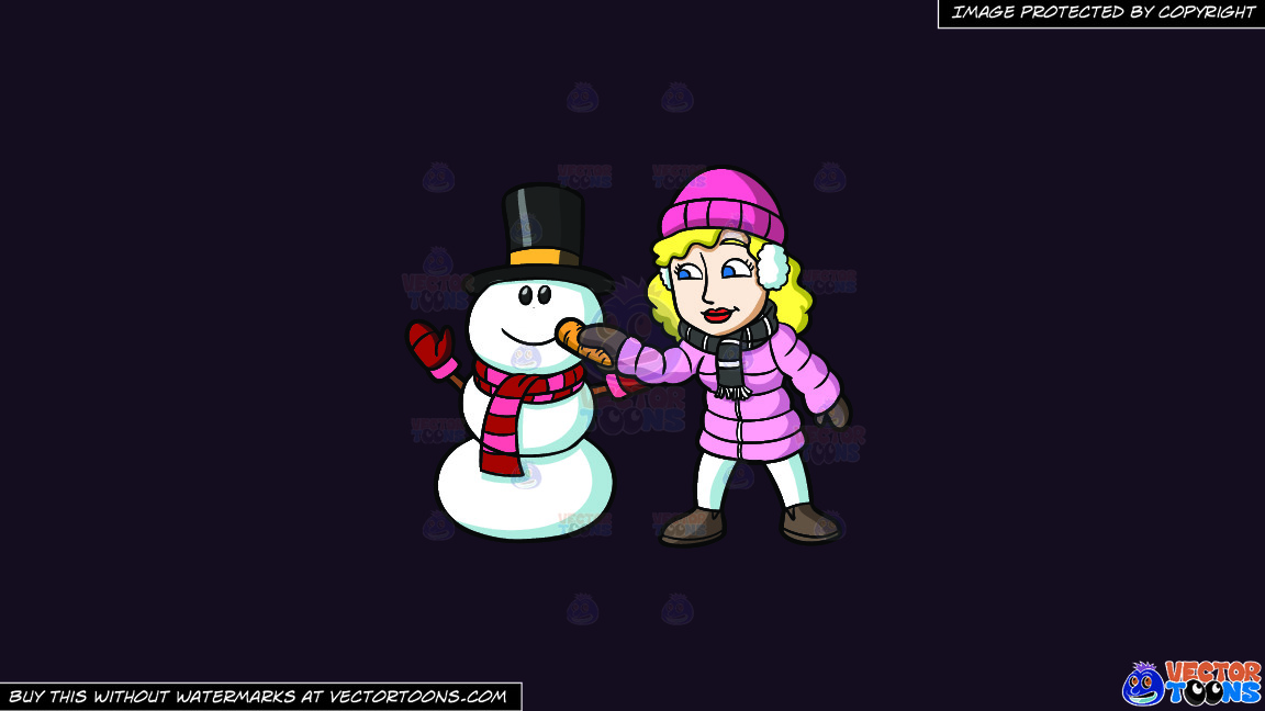 A Woman Placing A Carrot Nose On The Snowman On A Solid Purple Rasin 241023 Background thumbnail