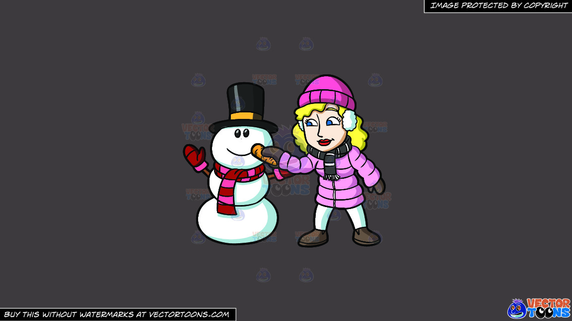 A Woman Placing A Carrot Nose On The Snowman On A Solid Quartz 504746 Background thumbnail