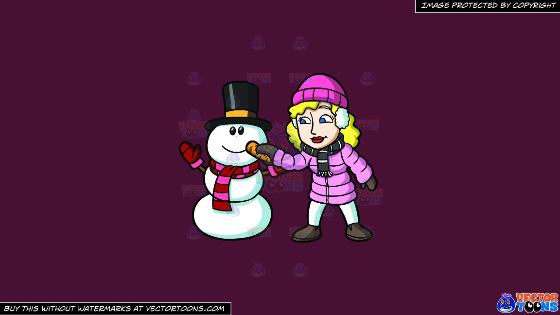 A Woman Placing A Carrot Nose On The Snowman On A Solid Red Wine 5b2333 Background thumbnail
